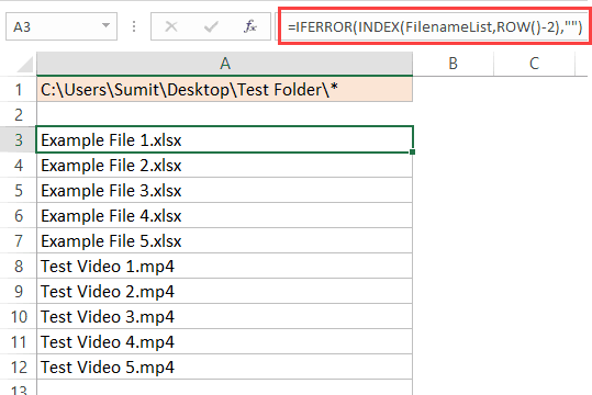 Getting the File Names from a folder using the FILES function Excel