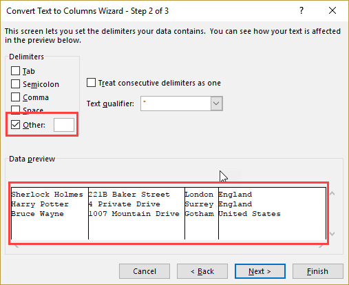 Step 2 in Text to Columns - Control + J Keyboard Shortcut