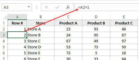 Add 1 to insert row numbers in Excel