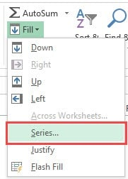 Fill Series option to number rows Columns in Excel