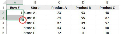 How to Number Rows in Excel - Fill Handle square