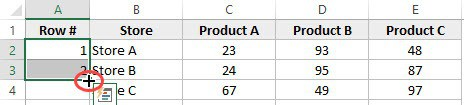 How to Number Rows in Excel - cursor changes to plus sign