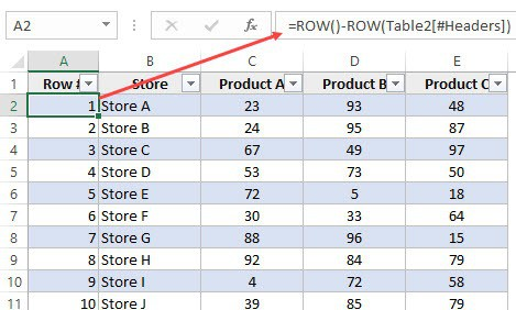 Number Rows in Excel - Calculated Column in Excel table