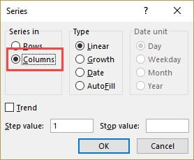 Number rows in Excel - selected columns in Fill series