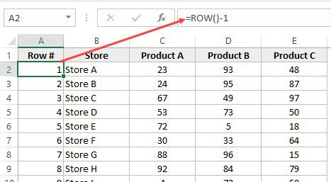 ROW formula to enter row numbers in Excel