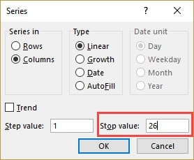 Specify the Stop Value in Fill Series