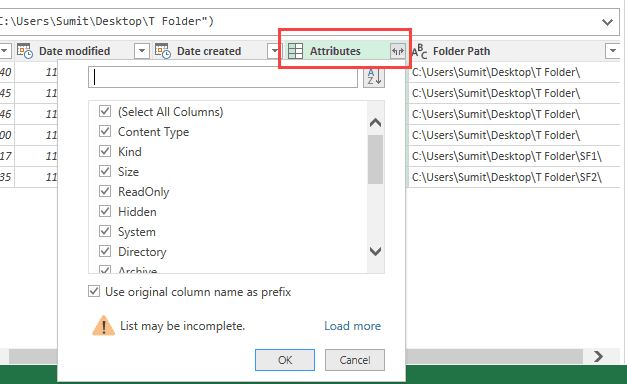 Power query - Get & Transform click on attribute