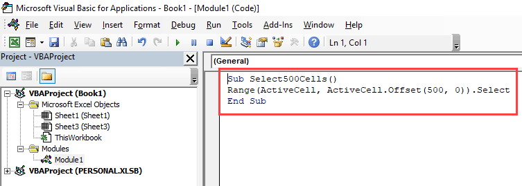Select 500 cells or rows with VBA code macro