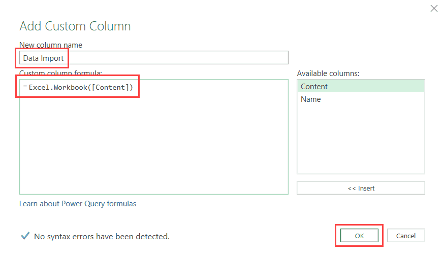 Add custom column in Power Query Editor - get and Transform