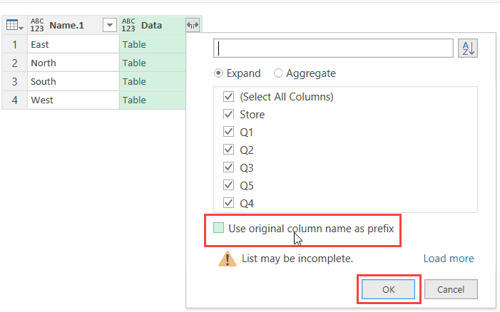 Click on Data header to combine table data - Get & Transform