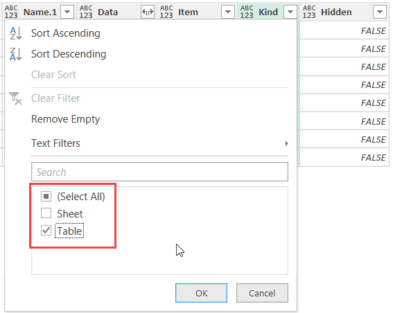 Power Query - Filter rows by selecting Table