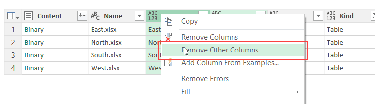 Remove Other columns in Power Query - to get table level data