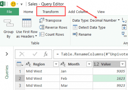 Data Type in the Transform tab