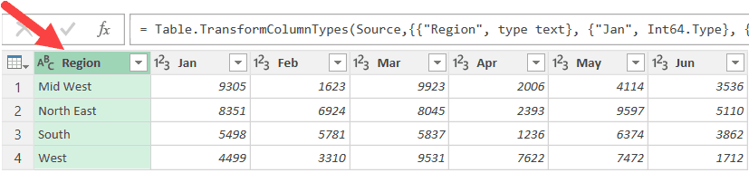 Right click on Region column Power Query to Unpivot Data