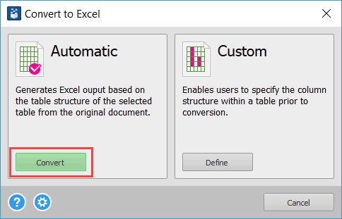 Convert Button Convert to Excel dialog box