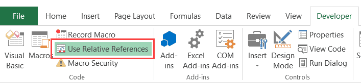 Record a Macro in Excel - Use Relative References Button