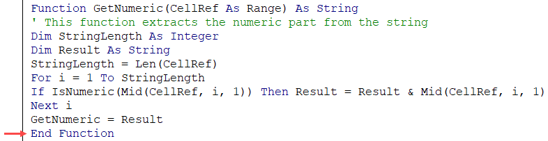End Function as the last line of VBA code