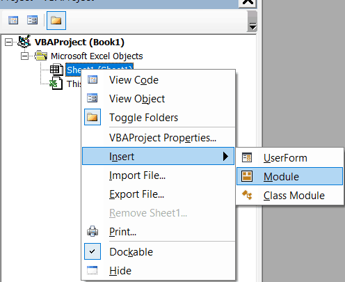 Insert a new module in VB Editor Excel