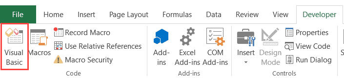 Visual Basic button in the Developer tab