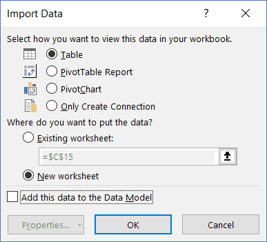 Combine Multiple Sheets in Excel - Import Data dialog box