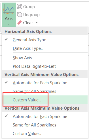 Custom Value in Axis Options