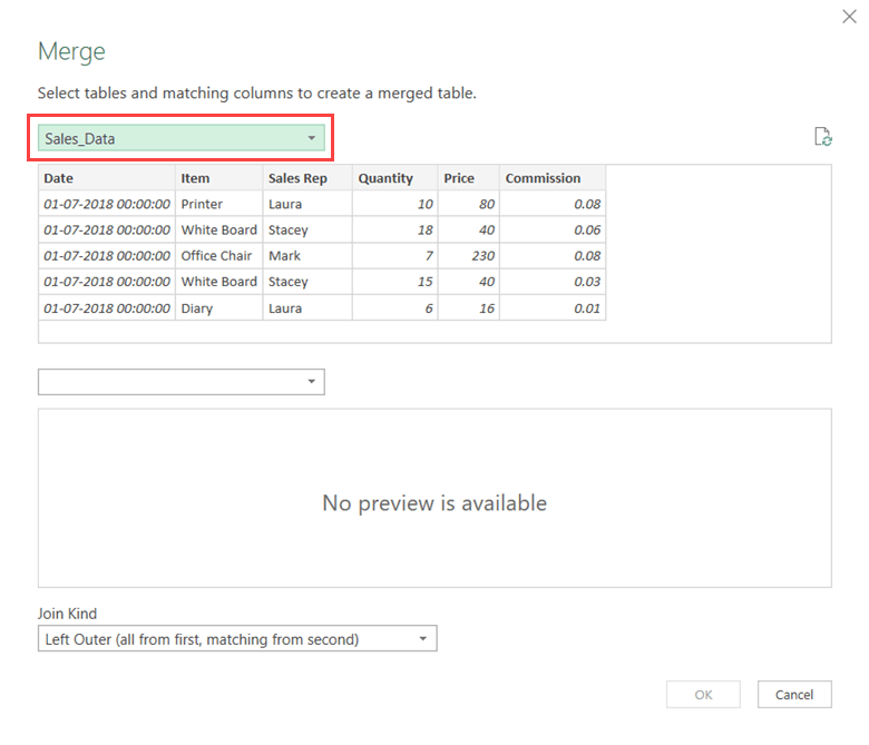 Select Sales Data in the Merge Dialog box