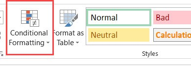Click on Conditional Formatting