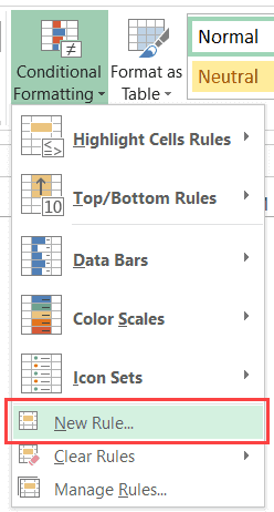 Click on New Rule - Highlight Rows Based on a Cell Value in Excel (Conditional Formatting)
