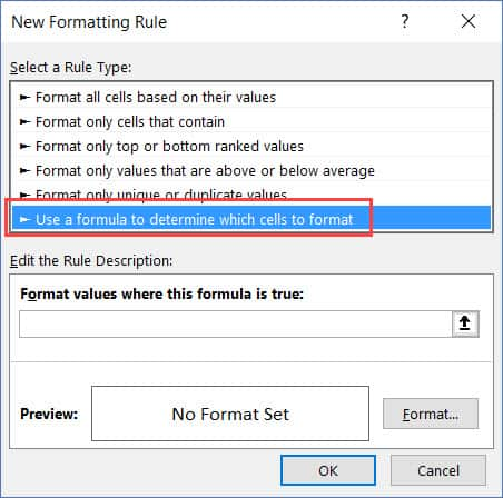 Click on Use Formula option