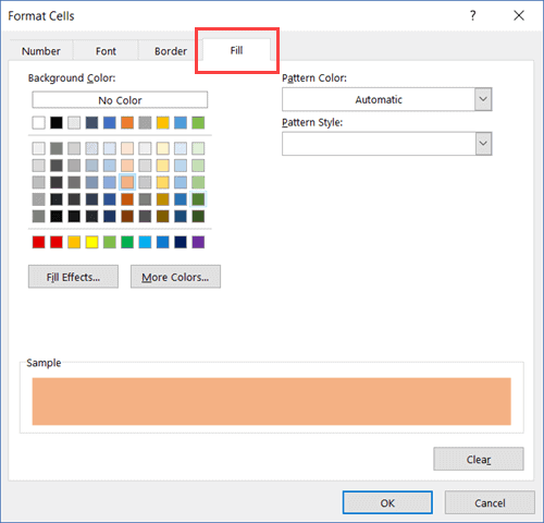 Color to Fill to highlight the rows