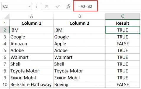 Compare Lists in Excel - matches are shown as TRUE