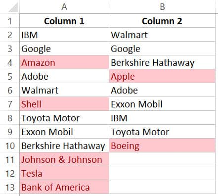 Compare Two columns and highlight differences