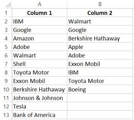 Compare two columns and highlight macthes - dataset