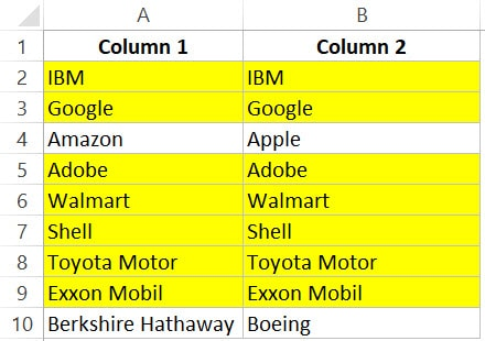 Compare two columns and highlight matching rows