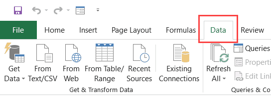 Data Tab in the Ribbon
