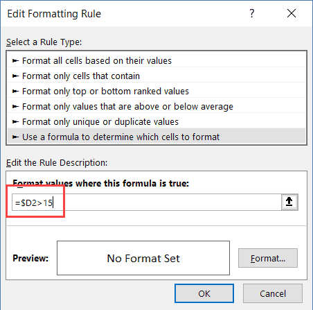 Formula to Highlight rows where value is more than 15