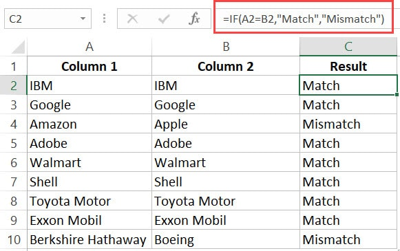 If formula to compare columns in Excel