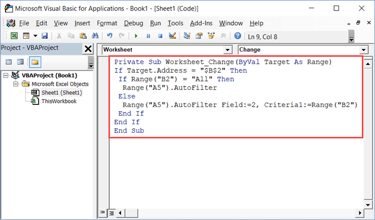 Pasting the code in the Worksheet code window