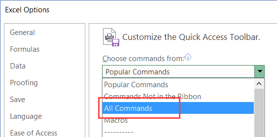 Select All Commands from the drop down