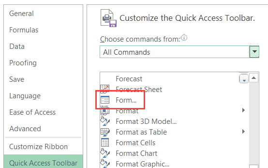 Select Form option in the Excel Options dialog box