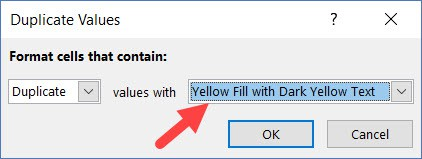 Specify the formatting in conditional formatting