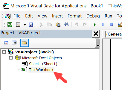 ThisWorkbook Object in Project Explorer