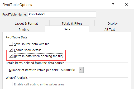 Check Refresh Data when opening the file option
