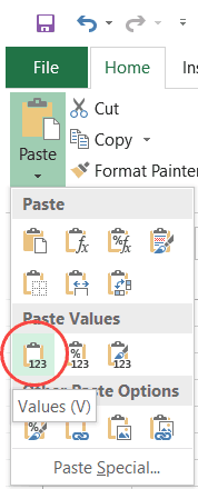 Click on Paste as Values Icon