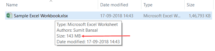 Reduce Excel File Size - Test 1 original