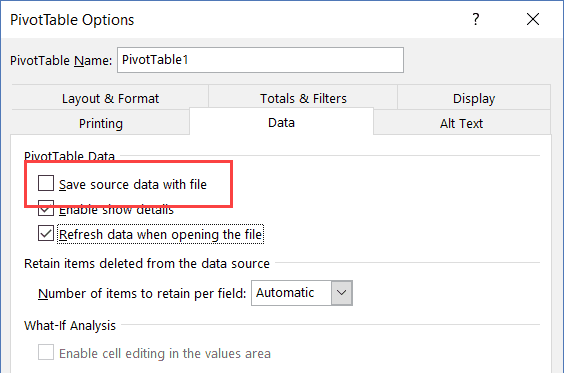 Uncheck Save Data Source Option in Pivot table Options dialog box