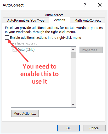 Autocorrect Actions option needs to be enabled