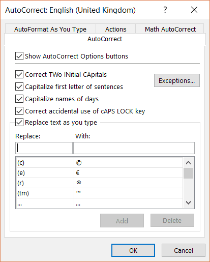 Autocorrect Options dialog box