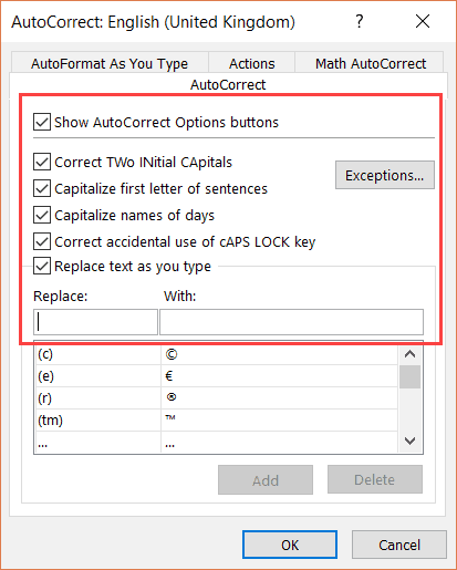 Autocorrect Options tab