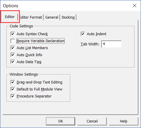 Editor Tab in Options dialog box